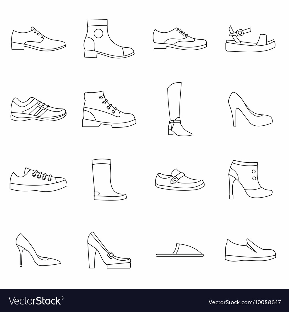 Shoe icons set in outline style vector