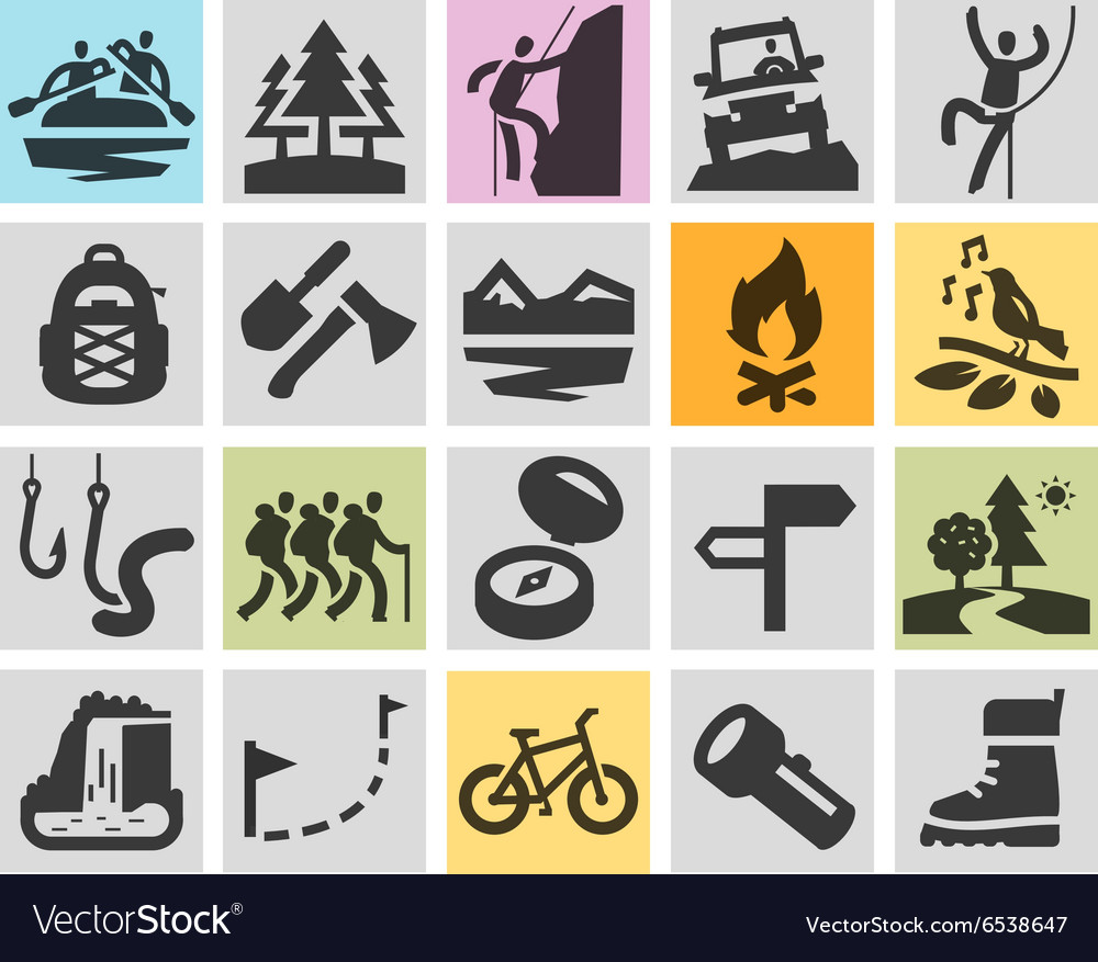 Trip hiking logo design template camping vector