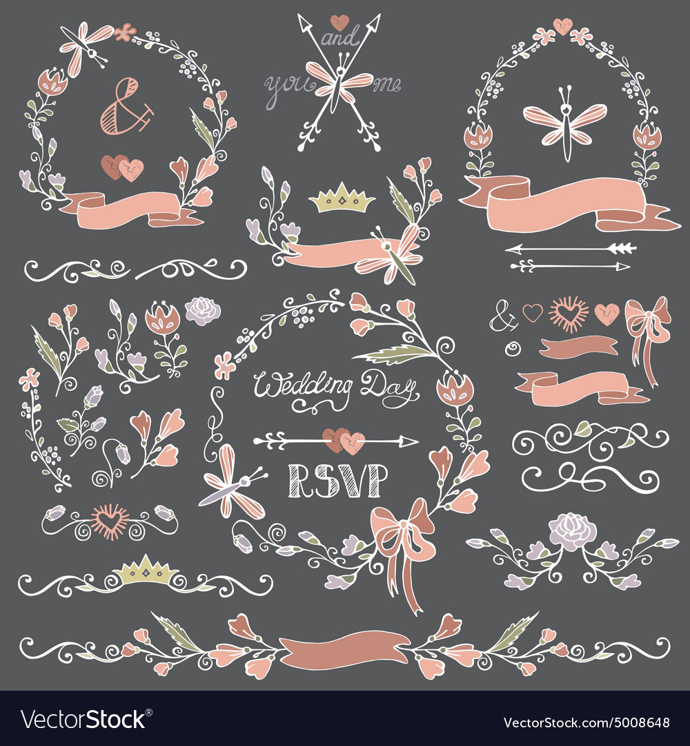 Colored doodles floral decor setborderswreath vector