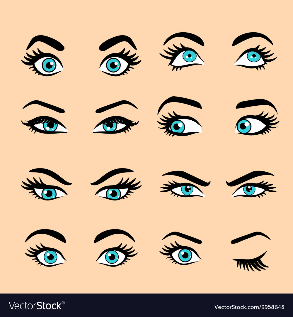 Set of cartoon eyes 2 vector