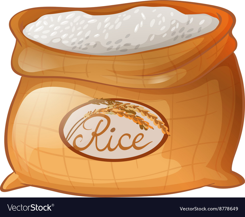 Bag of rice on white background vector