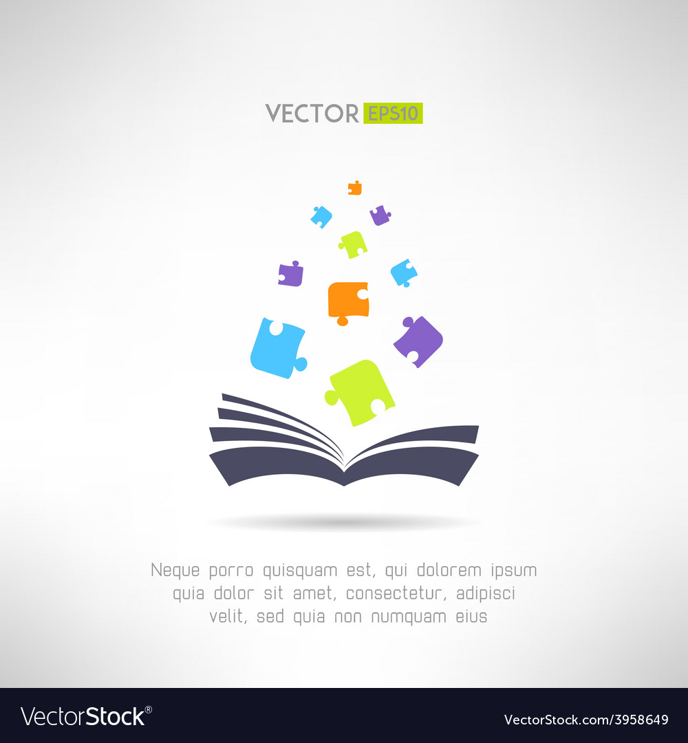 Book icon with puzzle pieces flying from it vector