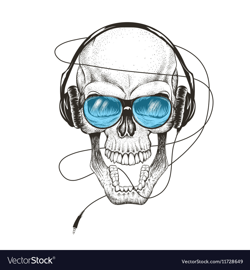 Smiling skull listening a music in headphones vector