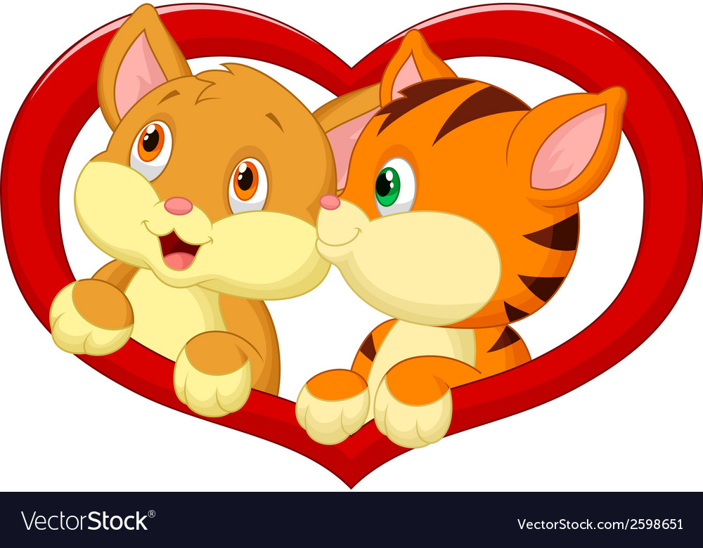Cat cartoon in love vector