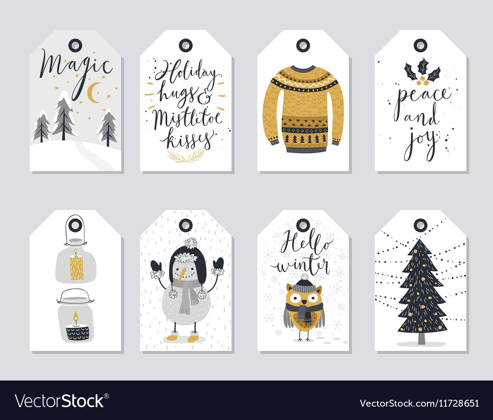 Christmas tags set hand drawn style vector
