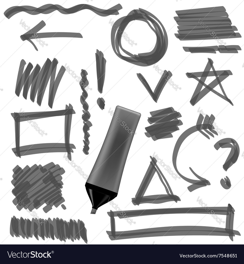 Gray marker set of graphic signs arrows circles vector