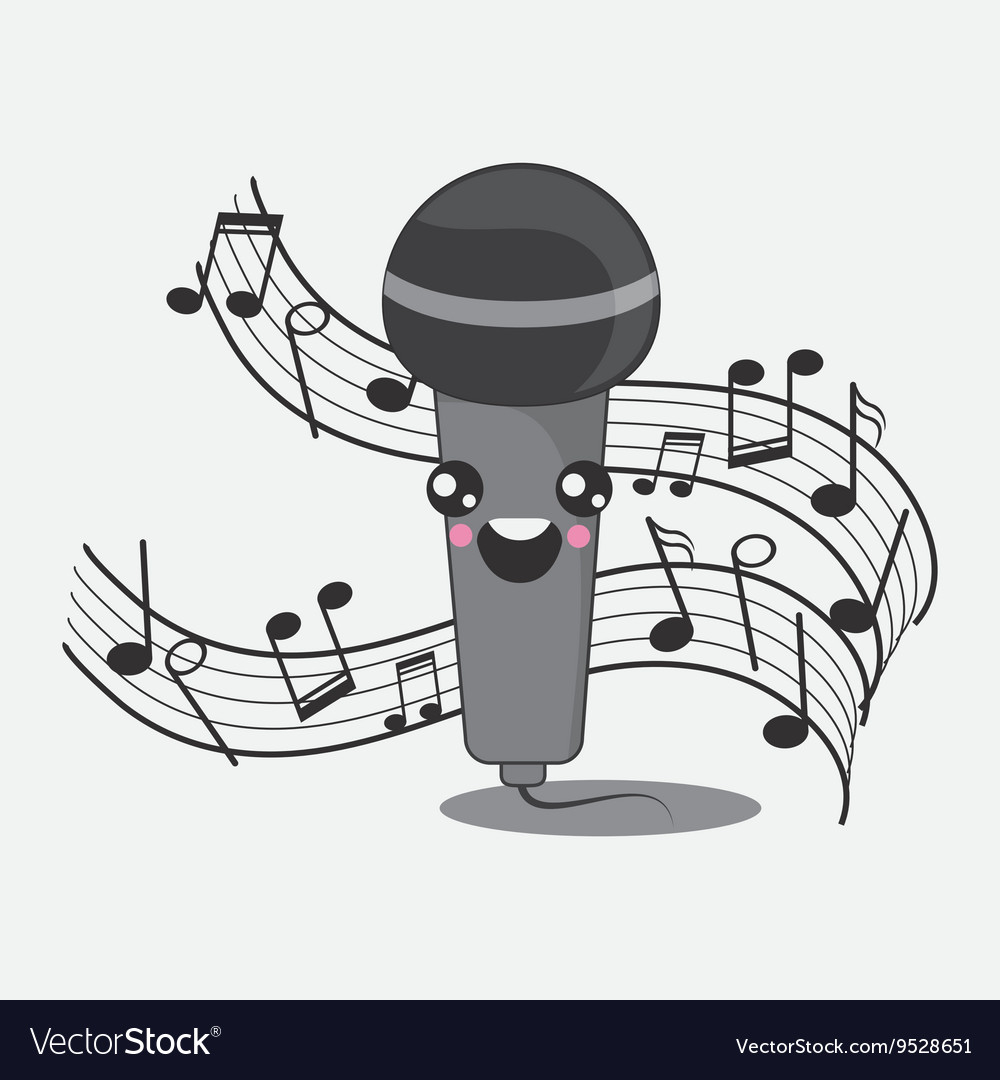 Microphone icon kawaii and technology design vector