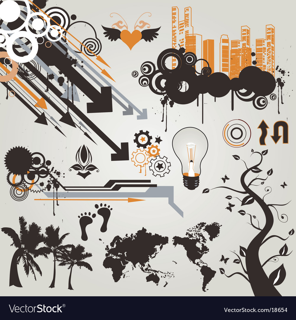 Urban grunge design elements vector