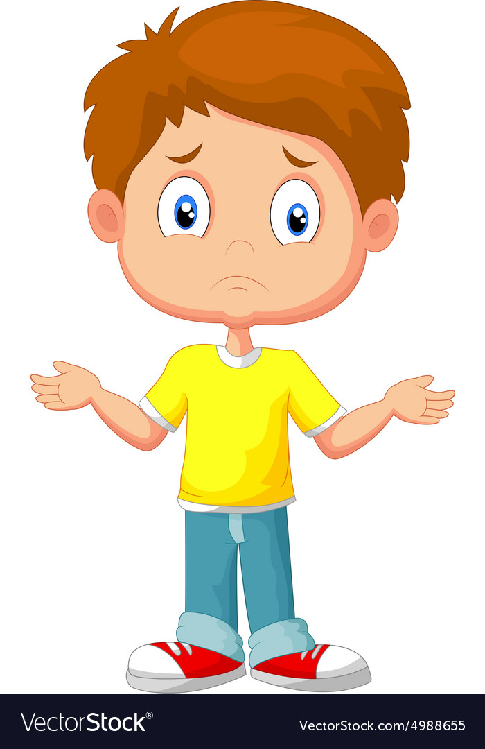Doubtful young kid gesturing with hands vector