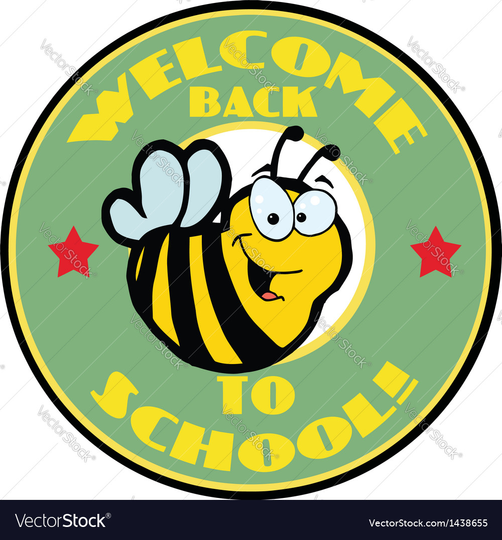 Green welcome back to school bee circle vector