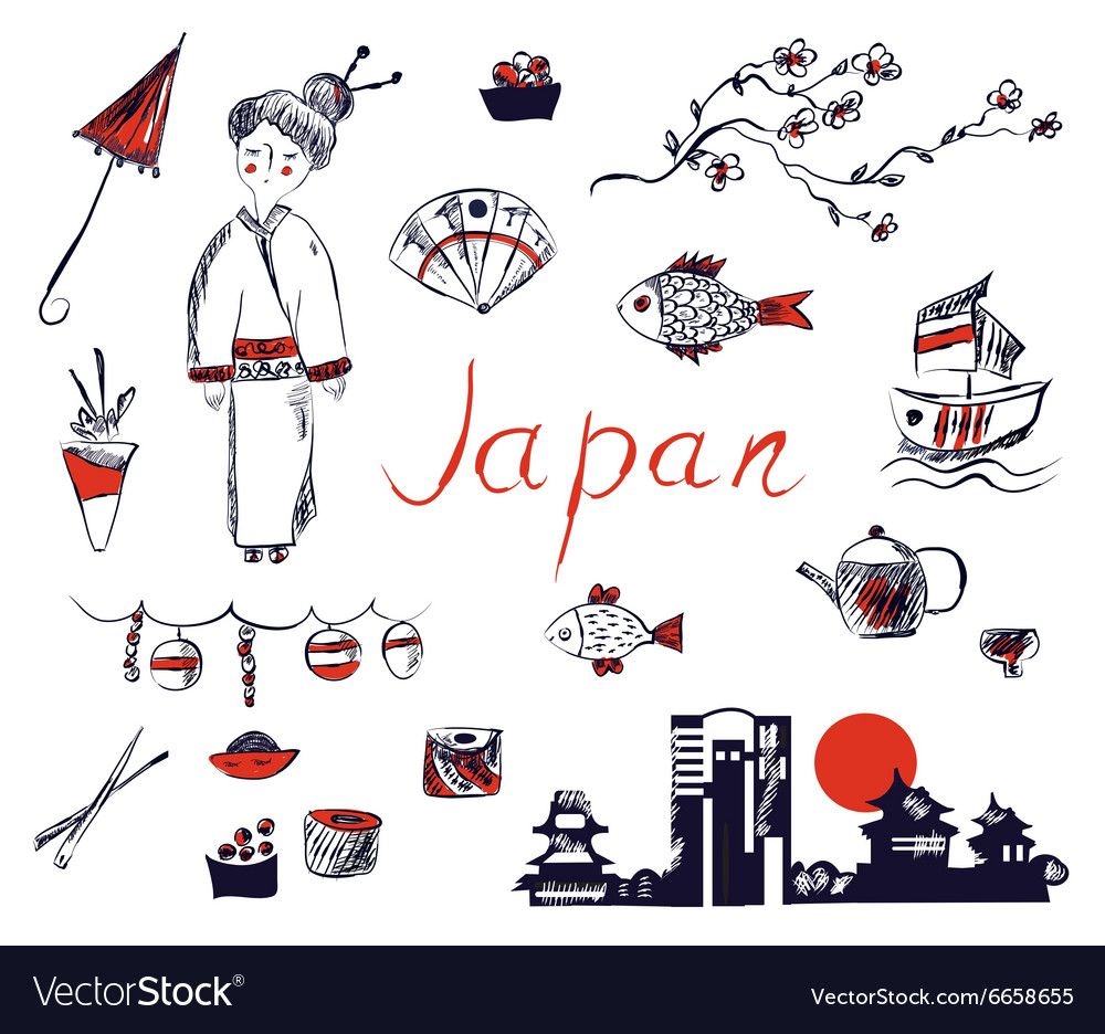 Set of japan symbols  hand drawn design vector