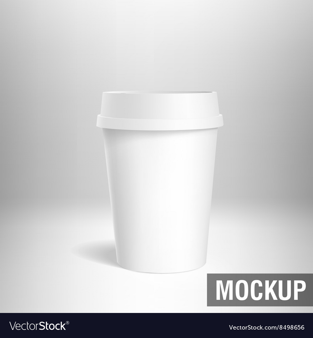 Coffee cup white mockup 3d vector