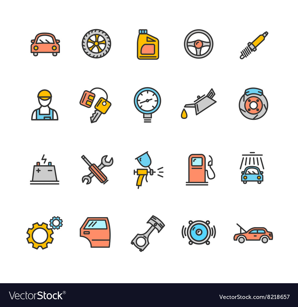 Car service icon color set vector