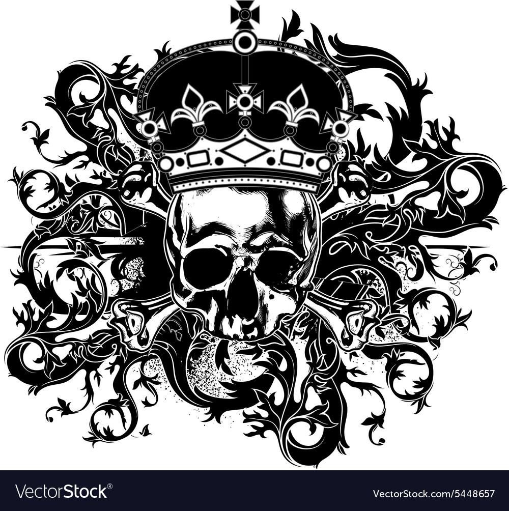 Decorative art background with skull vector