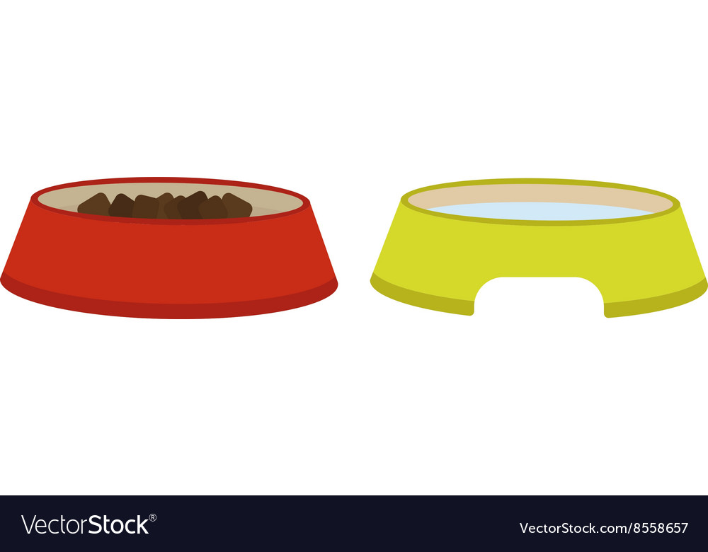 Dog dish food in bowl animal feed meal canine vector