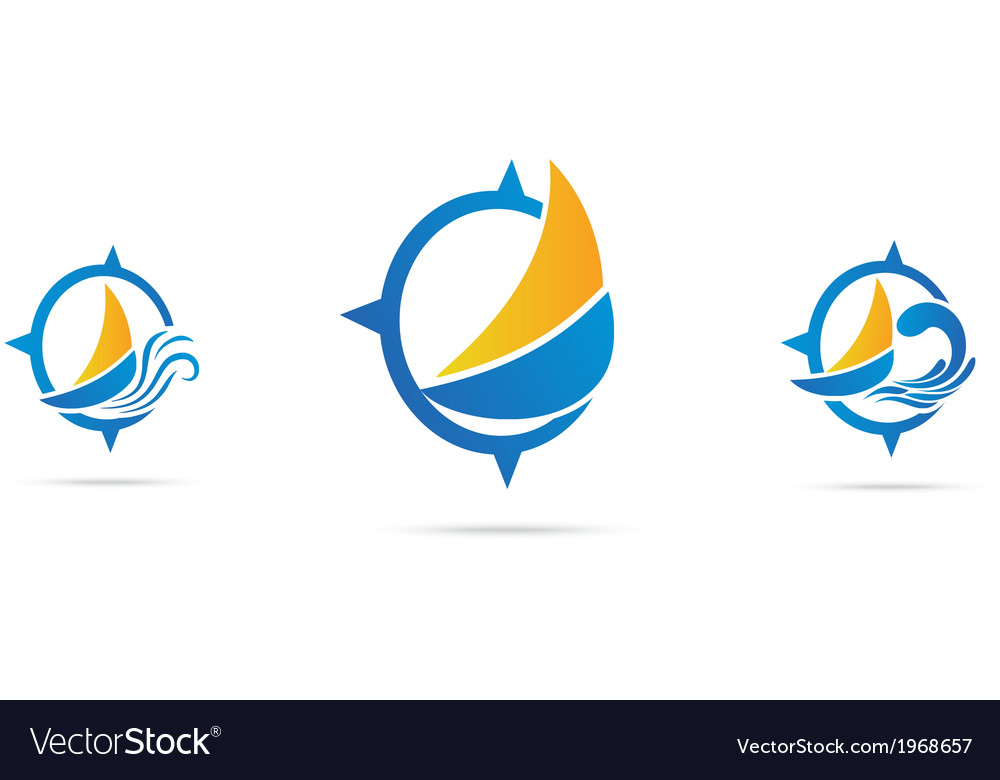 Yacht icon set with nautical wave vector