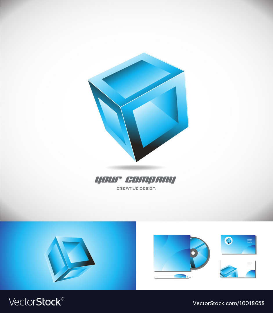 Blue cube box 3d logo icon design games vector