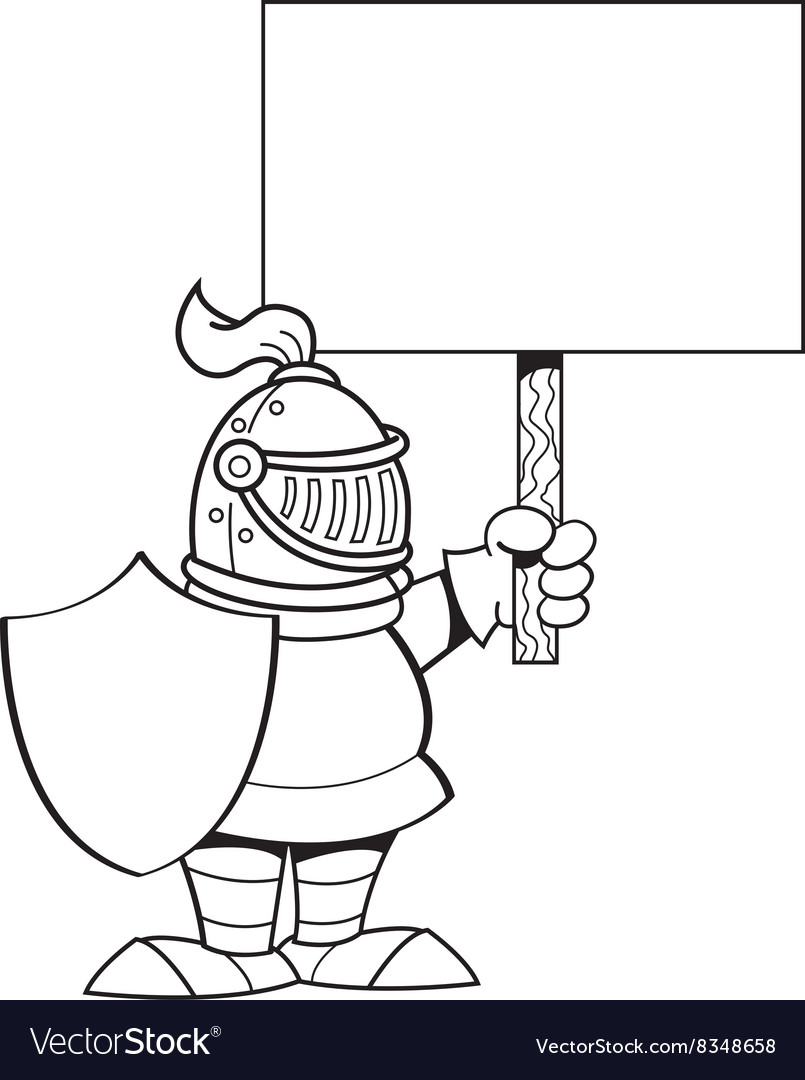 Cartoon knight holding a sign vector