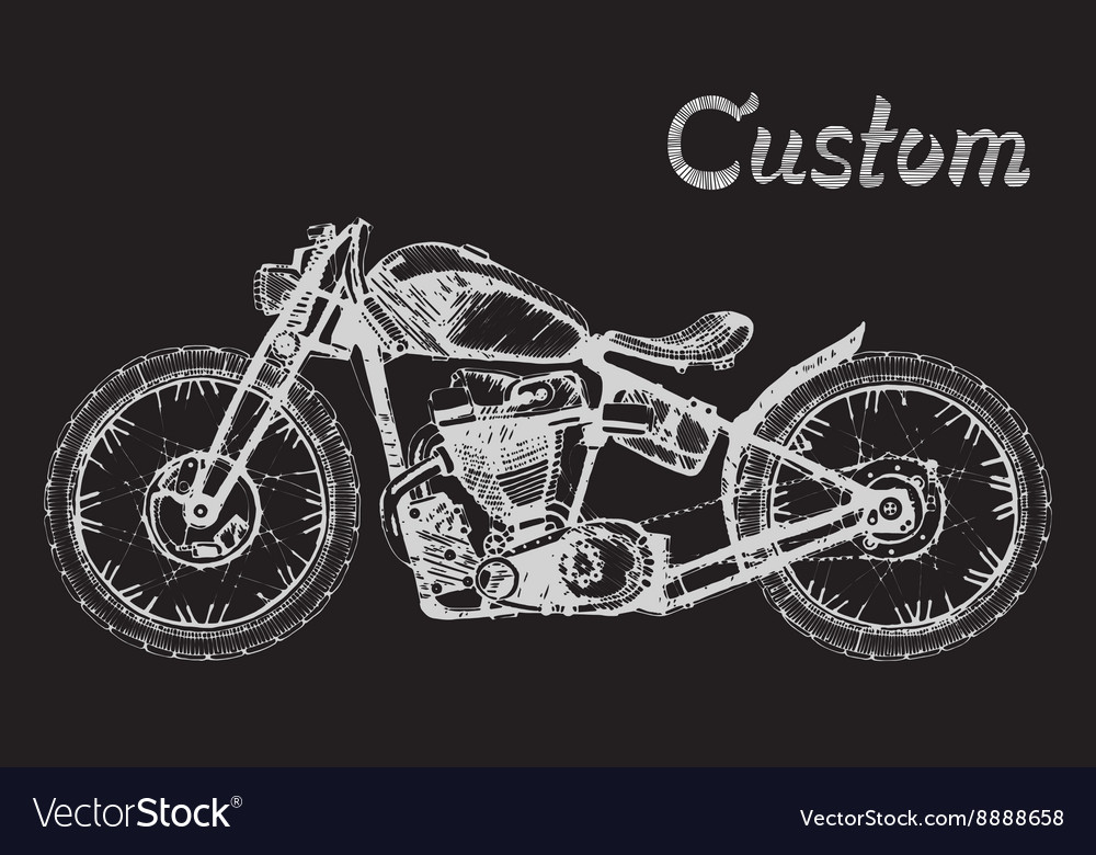 Handpainted motorcycle and lettering vector
