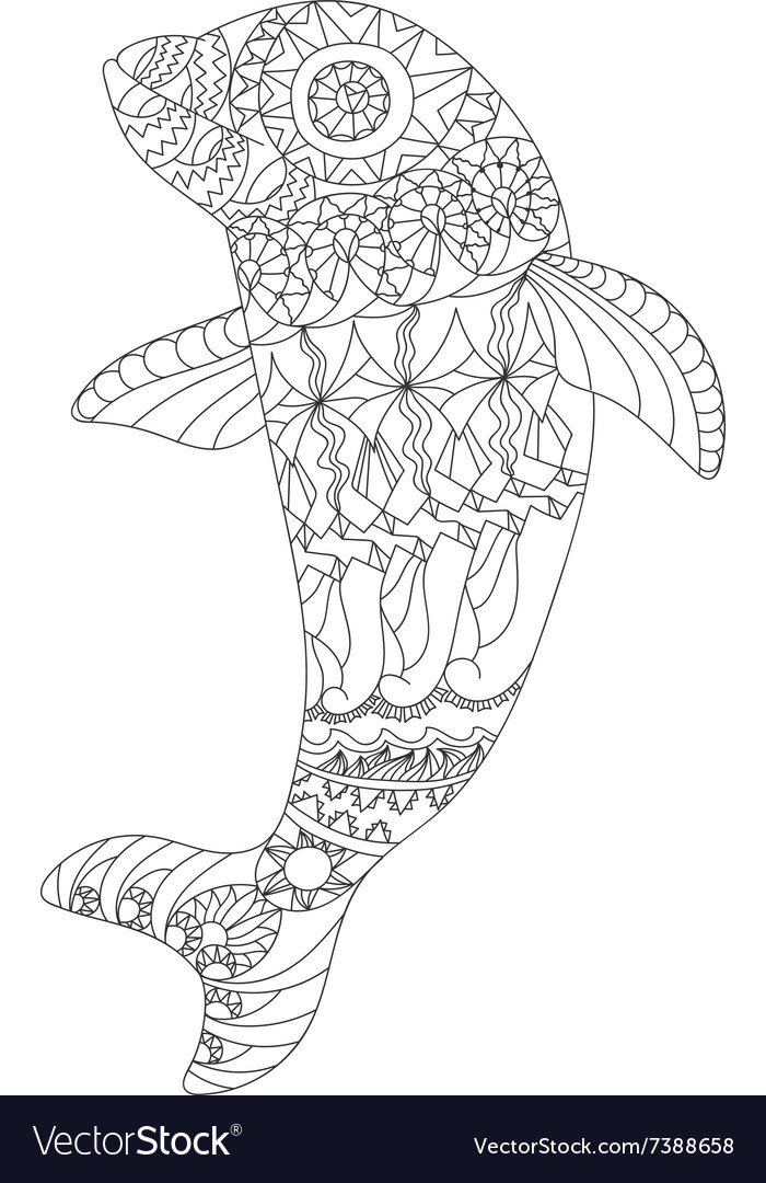 Patterned dolphin zentangle style vector