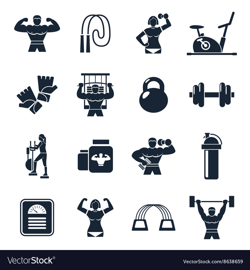 Bodybuilding black icon set vector