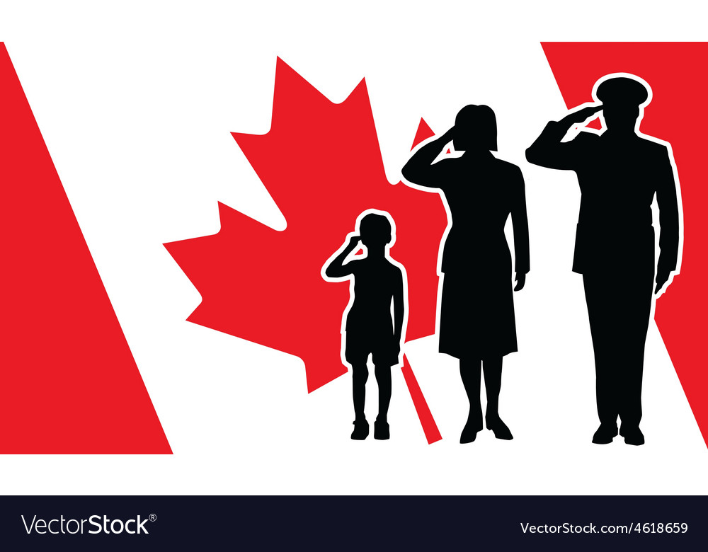 Canada soldier family salute vector