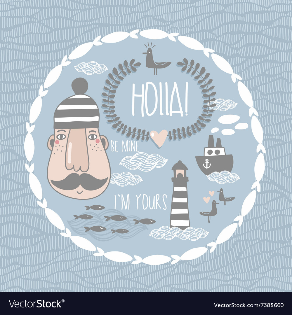 Collection with romantic sea life characters vector
