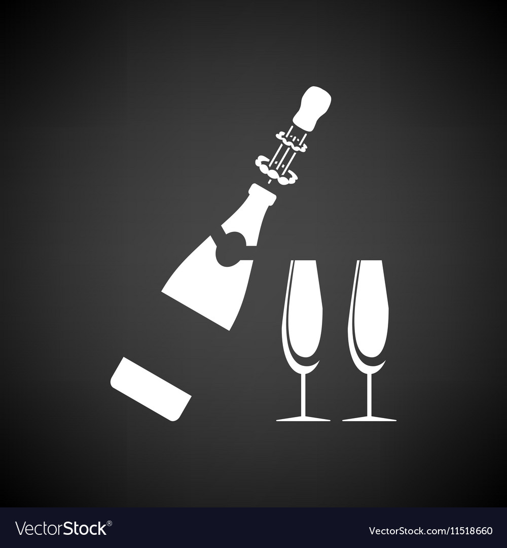 Party champagne and glass icon vector