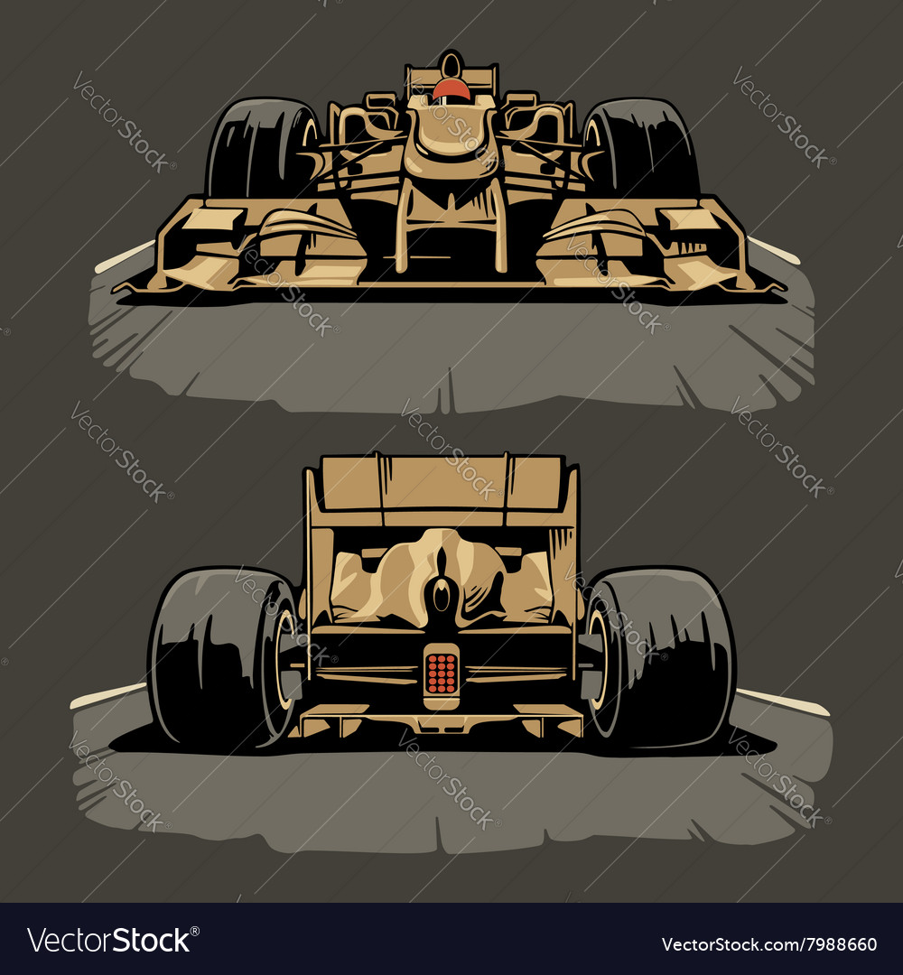 Racing car front and back view vector
