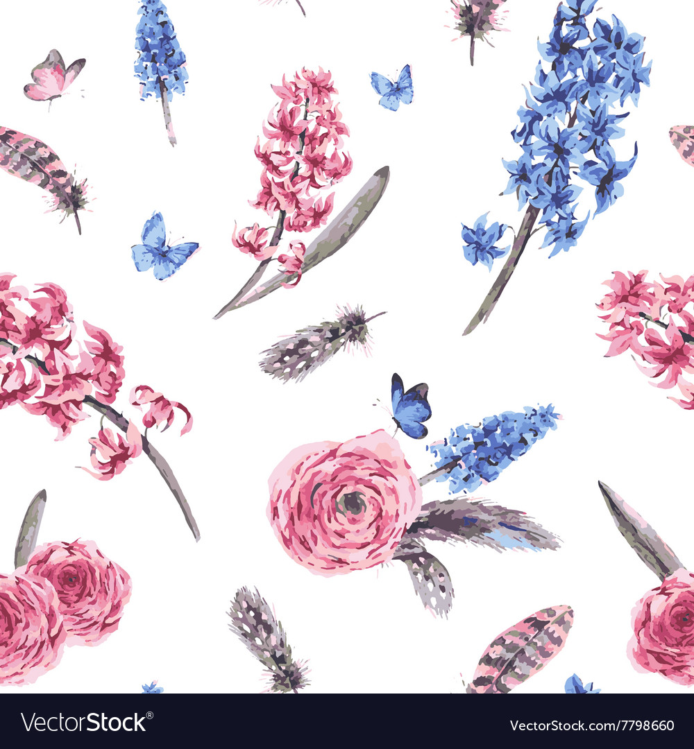 Vintage spring seamless pattern with blooming vector