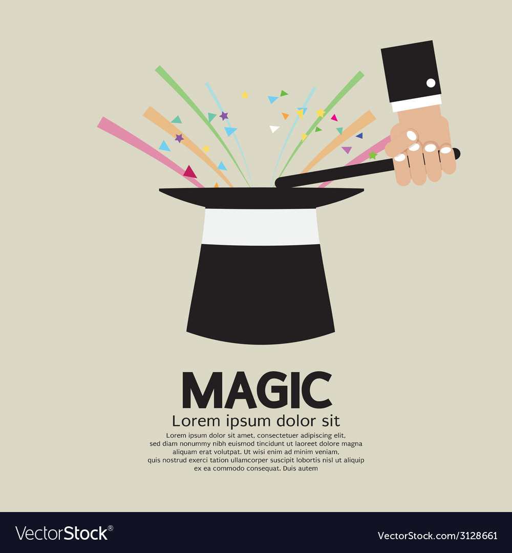 Magic trick of the magician vector