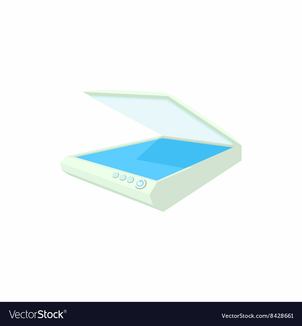 Open scanner icon cartoon style vector