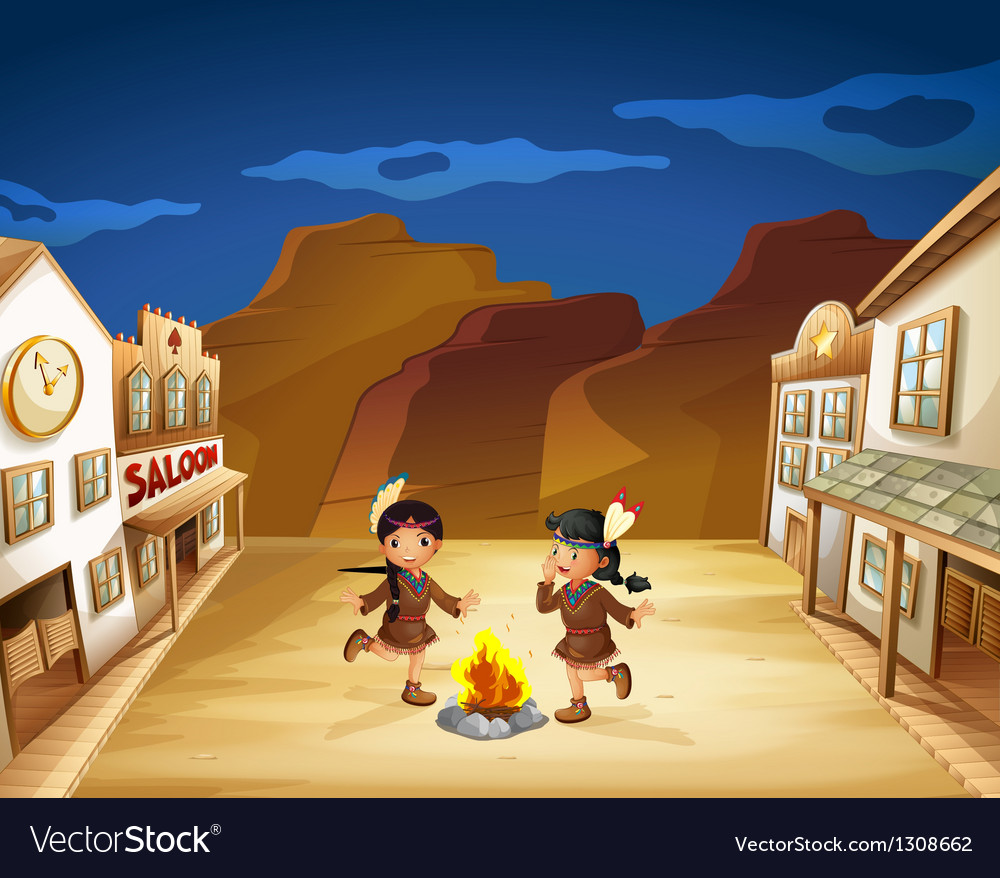 Two indian girls dancing around the fire vector