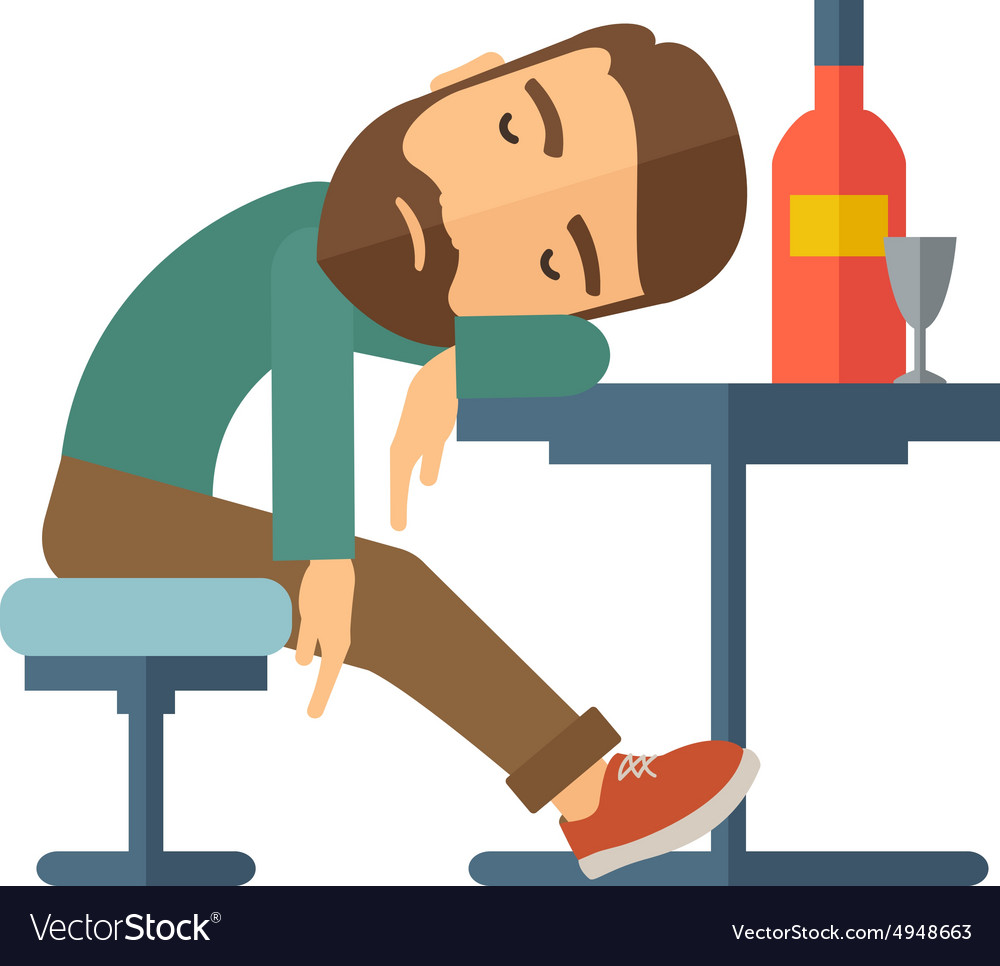 Drunk man fall asleep in the pub vector
