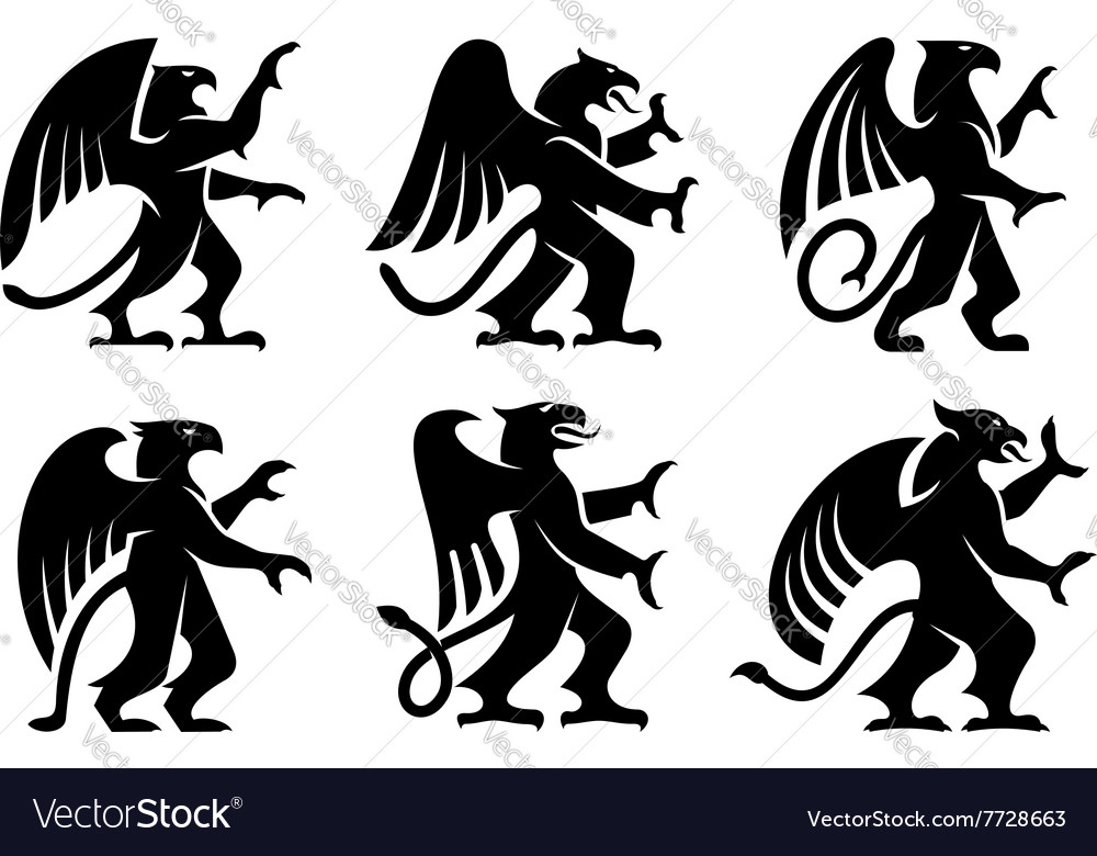 Heraldic griffins with raised paws vector