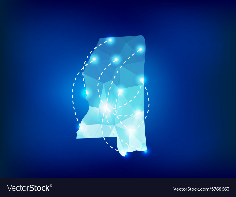 Mississippi state map polygonal with spot lights vector