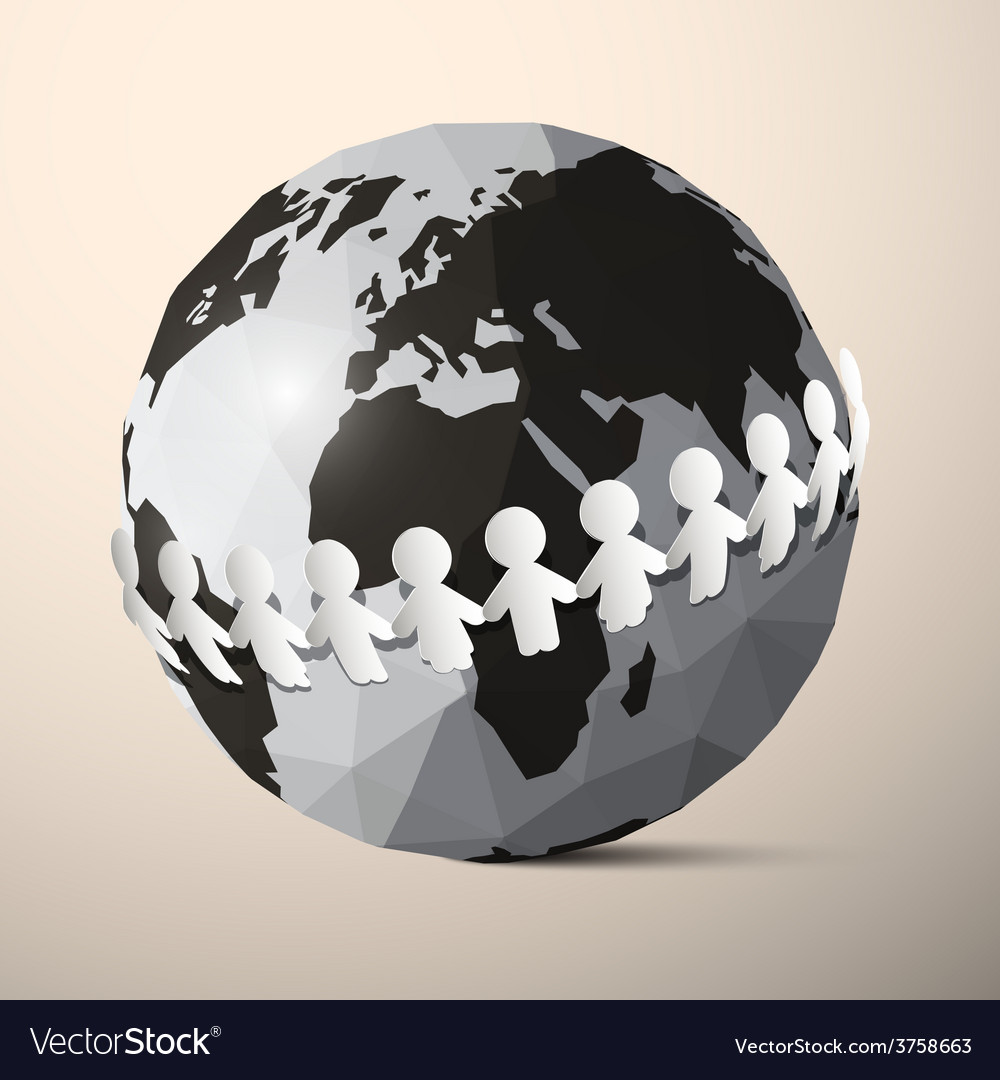 Paper people holding hands around globe  earth vector