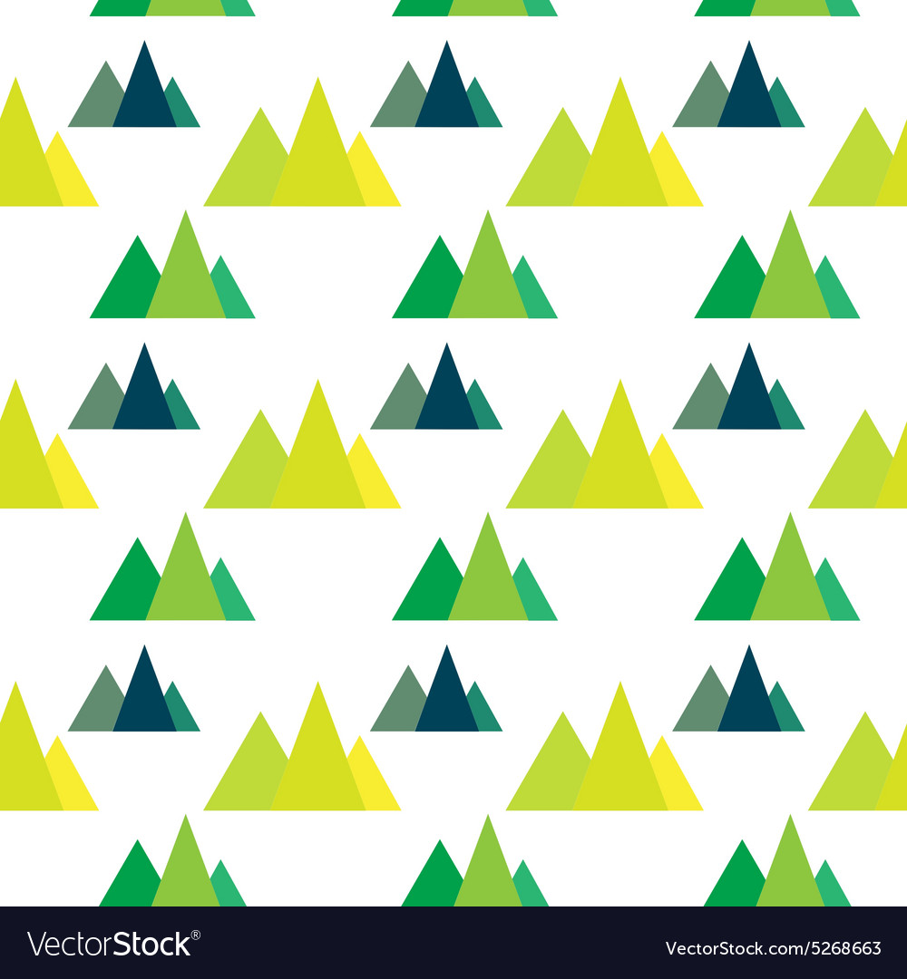 Seamless pattern with geometric forest mountains vector