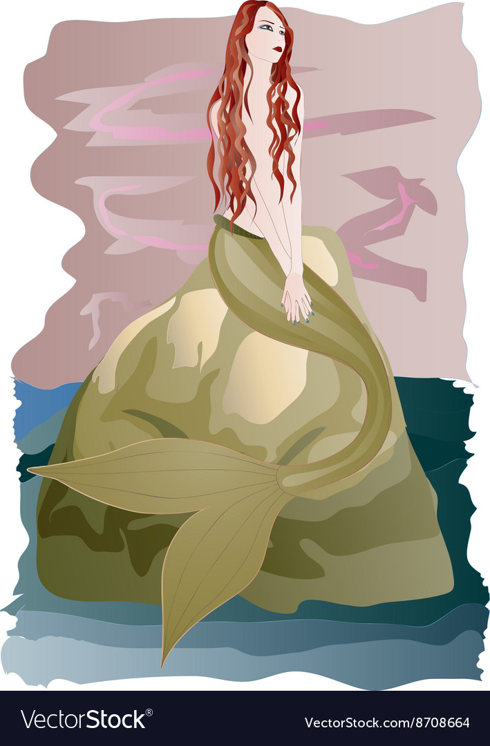 Beautiful redhead mermaid vector