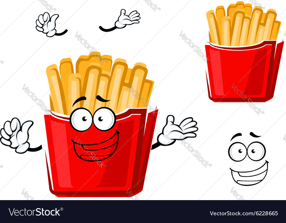 Funny cartoon french fries on paper cup vector