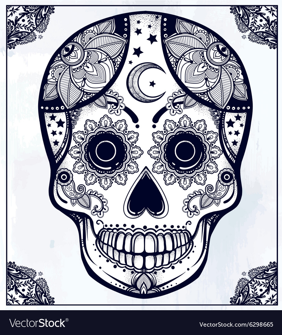 Hand drawn sugar skull in ornate frame vector