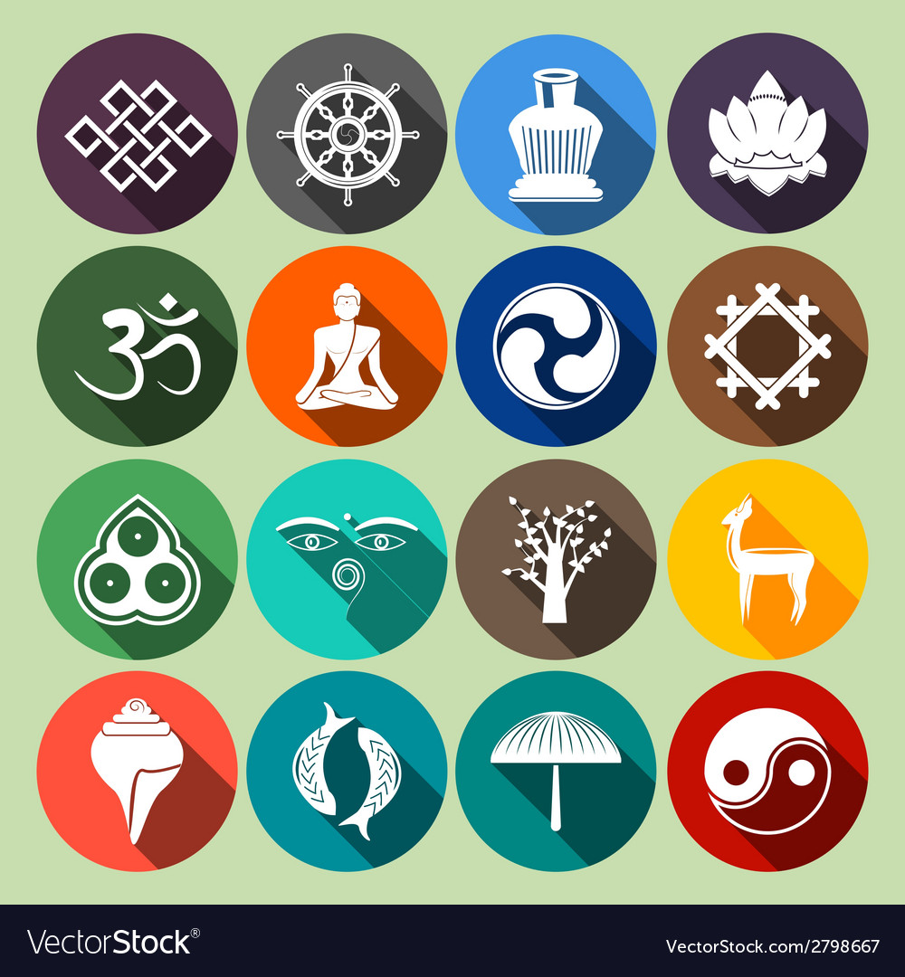 Buddhism icons set flat vector