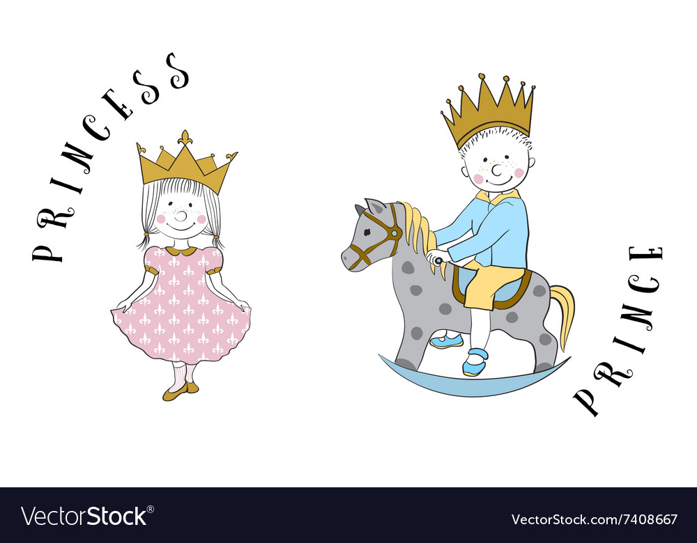 Cartoon princess and prince vector