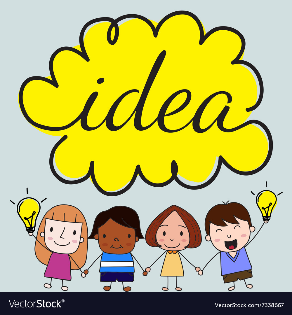 Children with idea concept vector