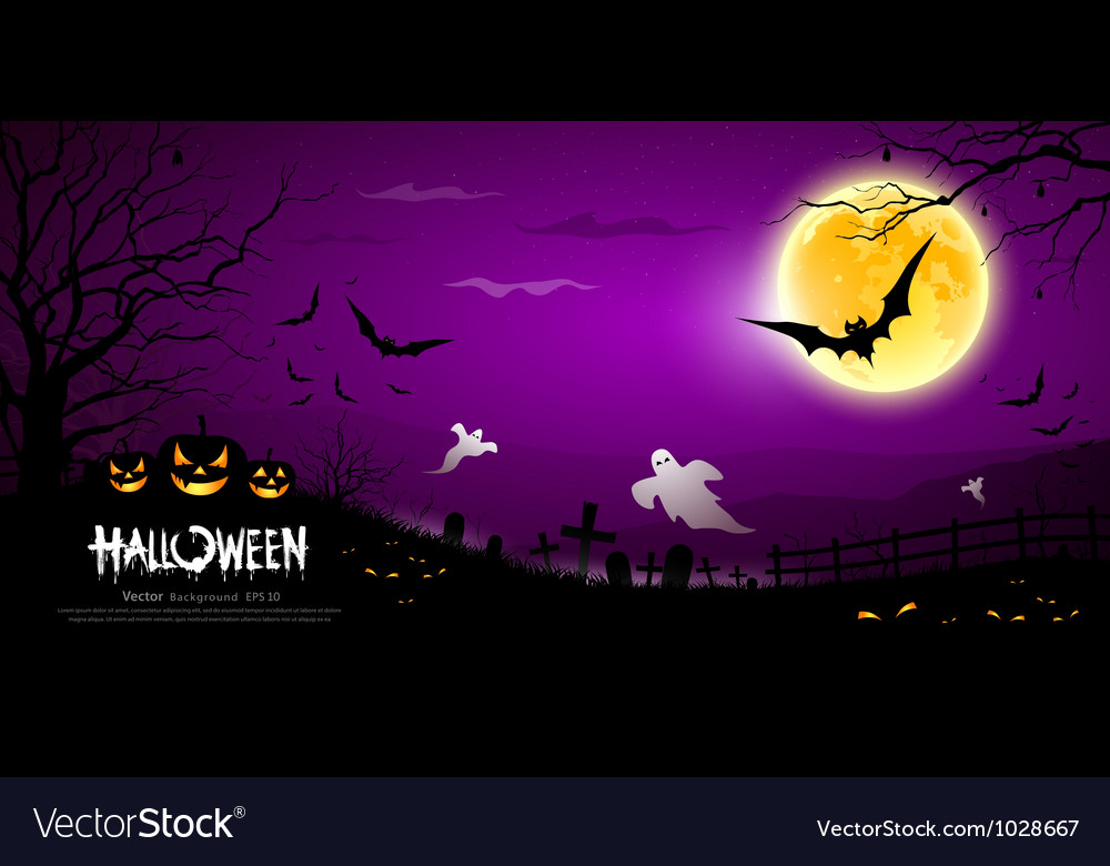 Halloween ghost scary purple background vector