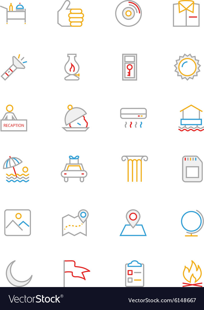 Hotel and restaurant colored line icons 10 vector