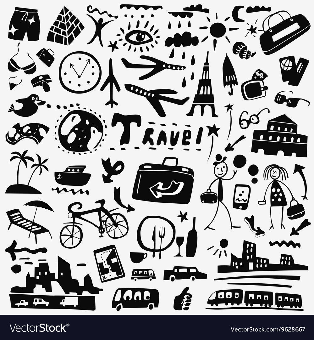 Travel doodles set vector
