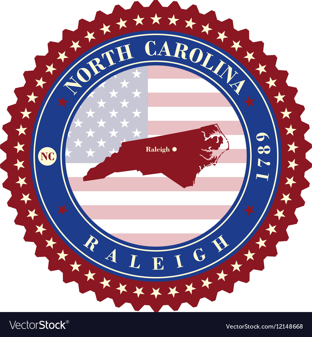 Label sticker cards of state north carolina usa vector