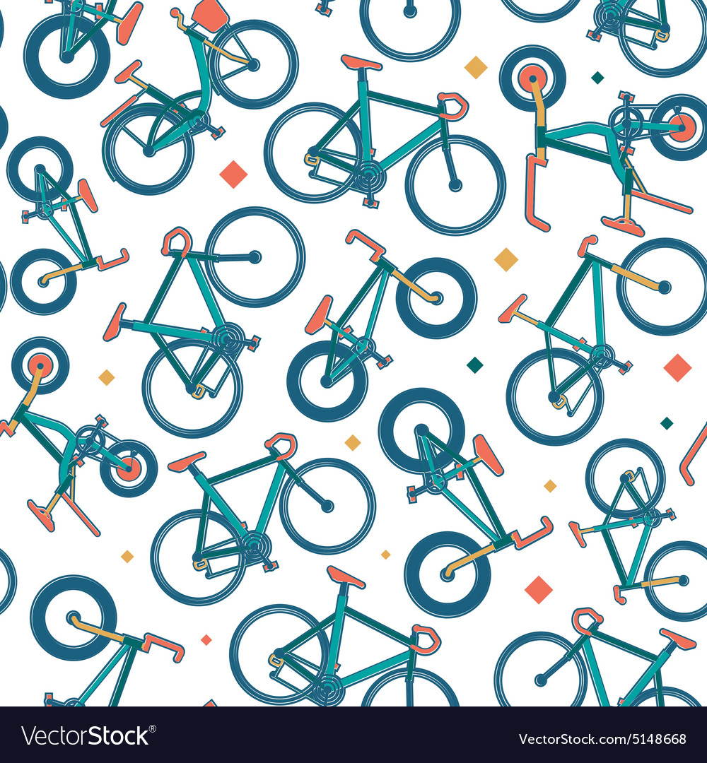 Seamless bicycle color pattern with borders vector