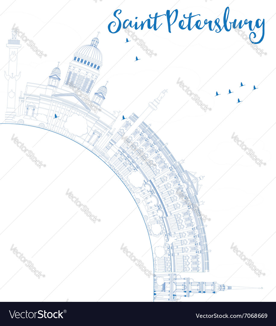 Outline saint petersburg skyline vector